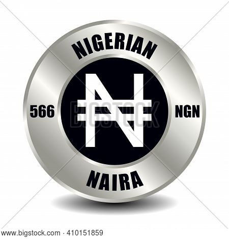 Nigeria Money Icon Isolated On Round Silver Coin. Vector Sign Of Currency Symbol With International