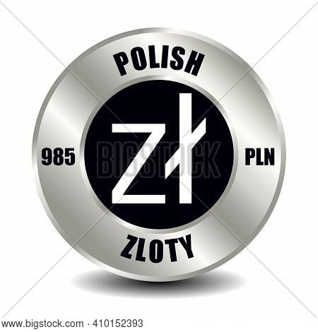 Poland Money Icon Isolated On Round Silver Coin. Vector Sign Of Currency Symbol With International I