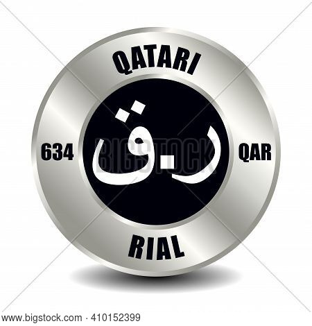 Qatar Money Icon Isolated On Round Silver Coin. Vector Sign Of Currency Symbol With International Is