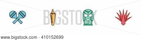 Set Maracas, Hot Chili Pepper Pod, Mexican Wrestler And Agave Icon. Vector