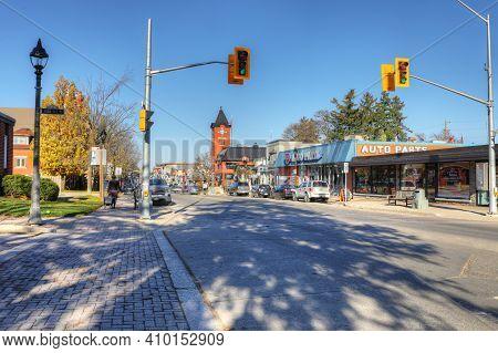 Elmira, Ontario/canada - October 20, 2020:  A Street Scene In Elmira, Ontario, Canada On [october 20