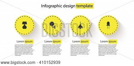 Set Table Lamp, Wall Or Sconce, Lamp Hanging And Light Emitting Diode. Business Infographic Template