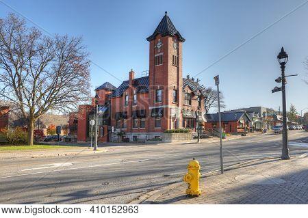 Elmira, Ontario/canada - October 20, 2020:  Elmira, Ontario, Canada Old City Hall With Clock Tower.