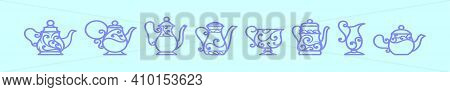 Set Of Cute Tea Pot Collection Cartoon Icon Design Template With Various Models. Modern Vector Illus