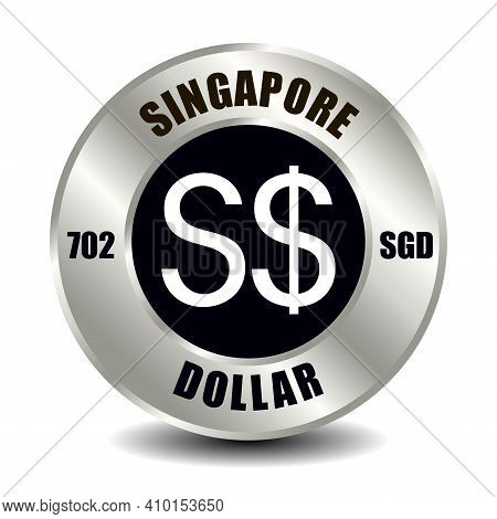 Singapore Money Icon Isolated On Round Silver Coin. Vector Sign Of Currency Symbol With Internationa
