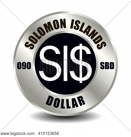 Solomon Islands Money Icon Isolated On Round Silver Coin. Vector Sign Of Currency Symbol With Intern