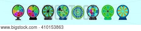 Set Of Spinning Wheel Cartoon Icon Design Template With Various Models. Modern Vector Illustration I