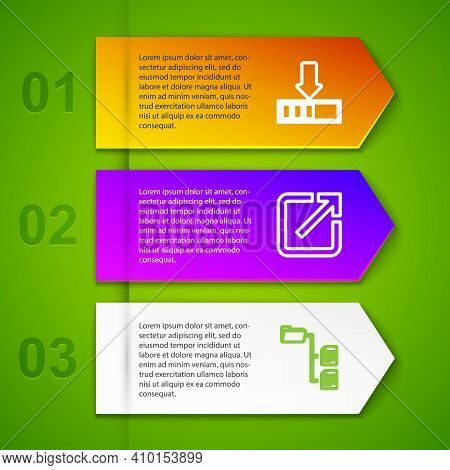 Set Line Loading, Open New Window, Folder Tree And Ufo Flying Spaceship And Alien. Business Infograp