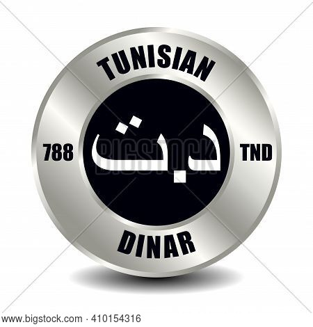 Tunisia Money Icon Isolated On Round Silver Coin. Vector Sign Of Currency Symbol With International