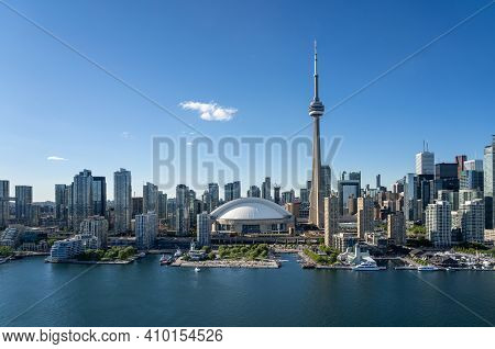 Toronto City Center Aerial View From The Ontario Lake