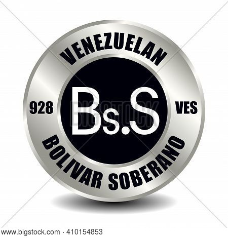 Venezuela Money Icon Isolated On Round Silver Coin. Vector Sign Of Currency Symbol With Internationa