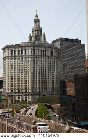 NEW YORK, NY, USA  - APRIL 27, 2011:  New York city skyline view from Brooklyn bridge