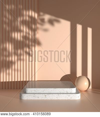 Mockup Step Display For Present Product With Sunshade Plant Shadow On Beige Color Wall Abstract Back