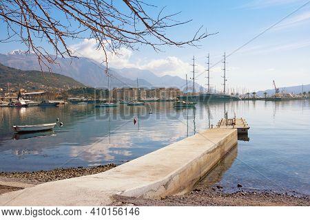 Tivat City, Montenegro - February 21, 2021: View Of Coast Of Kotor Bay  And Porto Montenegro Marina
