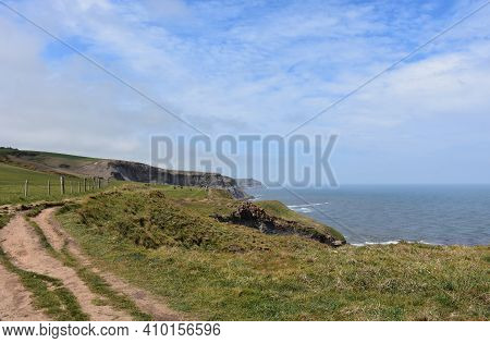 Gorgeous Scenic Walk Along The Sea Cliffs In Northern England.