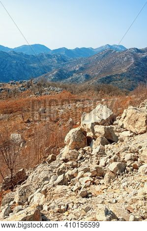 View Of Mountain Range Of Dinaric Alps  On Sunny Day. Karst Landscape. Bosnia And Herzegovina, Repub