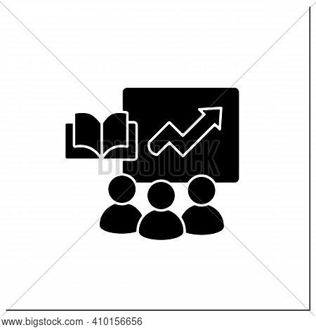 Comprehensive Business Training Programs Glyph Icon. Productivity Growth, Refresh Workforce Skill, M