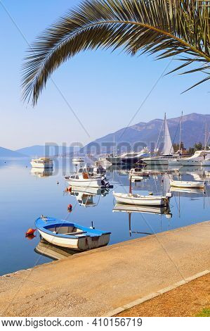 Beautiful Mediterranean Landscape With Fishing Boats On Water. Montenegro, View Of Kotor Bay Near Ti