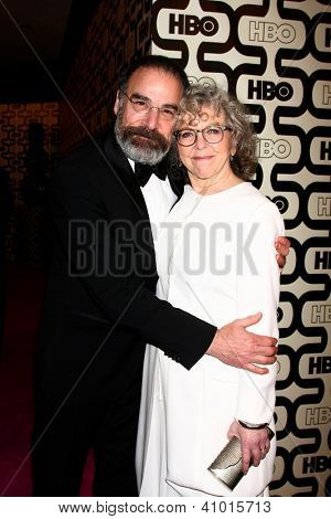 LOS ANGELES - JAN 13:  Mandy Patinkin, Kathryn Grody arrives at the 2013 HBO Post Golden Globe Party at Beverly Hilton Hotel on January 13, 2013 in Beverly Hills, CA..
