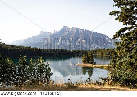 Scenic Panoramic View Of The Mount Rundle From The Vermilion Lakes, Banff, Alberta, Canadian Rocky M