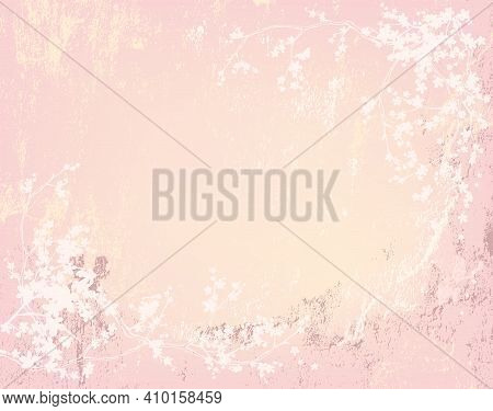 Romantic Shabby Painted Wall And Blooming Sakura Tree Branches - Pastel Colored Vector Copy Space Ba