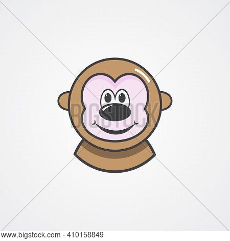 Monkey Face Icon. Cheerful And Cute Monkey.vector