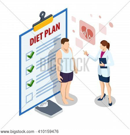 Isometric Healthy Food And Diet Planning. Healthy Eating, Personal Diet Or Nutrition Plan From Dieti