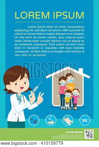 Doctor Holding Syringe With Covid Vaccine And Family Wearing Protective Medical Mask For Prevent Vir
