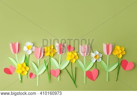 Happy Easter Paper Craft For Kids. Paper Diy Seasonal Flowers Tulips And Hearts On Pastel Green Back