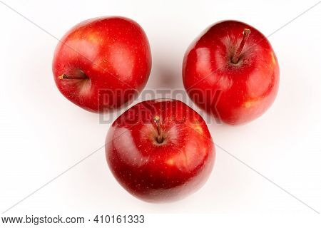 Variety Of Red Apples Red Chief On A White Background