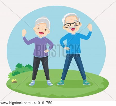 Strong Elderly Surrounded By Immunity Field Protecting In The Park. Grandfather And Grandmother So H