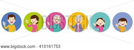 Happy Family And Kids Showing Okay Sign Gesture. Grandfather Grandmother Dad Mom Daughter Son Smile