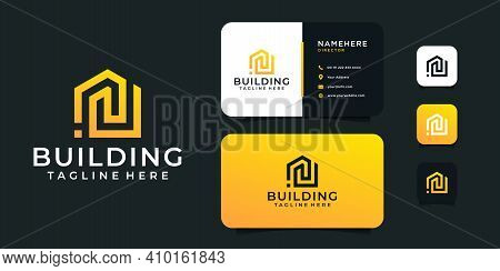 Modern Building Architecture Logo And Business Card Design Vector Illustration. Logo Can Be Used For
