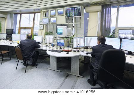 MOSCOW - SEP 22: Dispatchers work in Sheremetyevo airport on Sep 22, 2011 in Moscow, Russia. In Moscow airports in 2013 will be implemented automated monitoring system to check biometric passports.