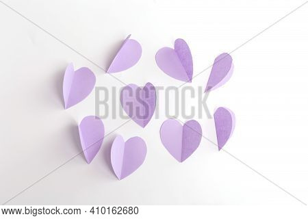 Purple Paper Cut Out Heart For Craft, Step 2 Of Instruction, Art Project Paper Flowers, Diy, Spring