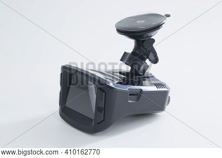 Dvr And Radar Detector For Car On White Background. Combo Device.