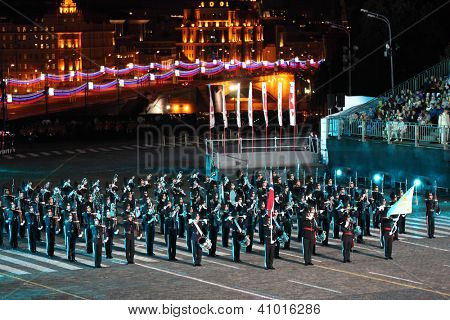 MOSCOW - SEPTEMBER 4: Big orchestra of Royal Guard of His Majesty and ceremonial platoon Norway performs at Military Music Festival Spasskaya Tower on September 4, 2011 in Moscow, Russia.