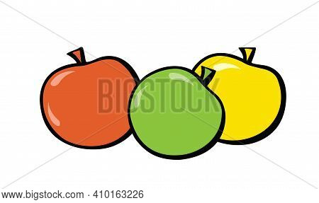 Green, Red And Yellow Apples. Pop-art. Retro Style. Illustration