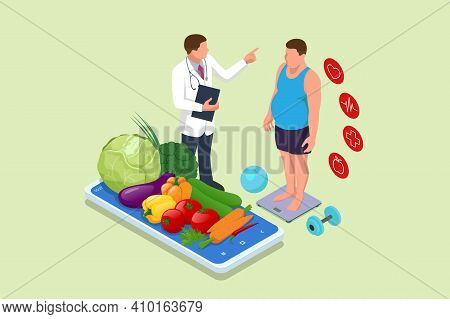 Isometric Healthy Food And Diet Planning Concept. Doctor S Consultation For An Overweight Patient. H