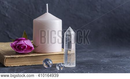 Magic Vintage Still Life With Crystals, Pink Candle, Old Book And Rose Flowers. Meditation Reiki. Ri