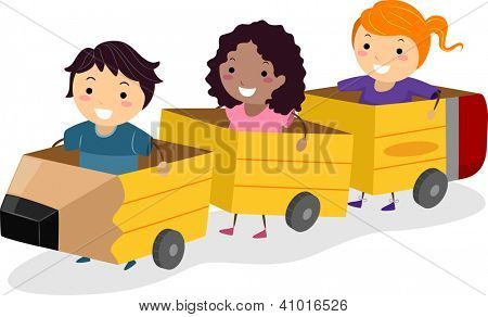 Illustration of Kids Riding Pencil Shaped Carriages Made from Cardboard