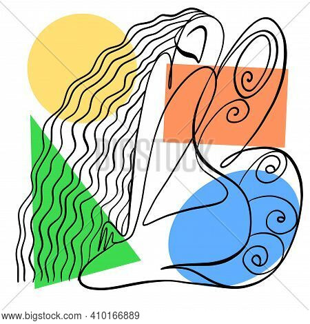 Vector Illustration. Graphic Abstract Portrait Of A Woman With Butterfly Wings. Drawn By Calligraphi