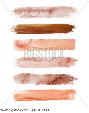 Watercolor Terracotta Brush Strokes Isolated On White Background. Abstract Collection, Elements For