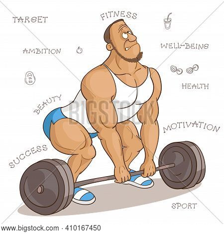 Vector Cartoon Illustration. Cartoon Funny Man In Fitness Class Trying To Lift A Very Heavy Barbell.