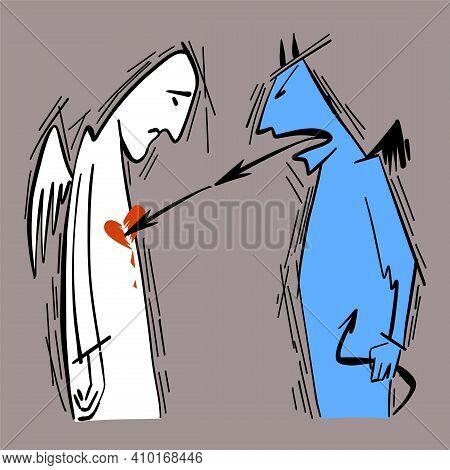 Vector Illustration Of Philosophy. A Metaphor For The Psychological Destruction Of A Person, Her Sel