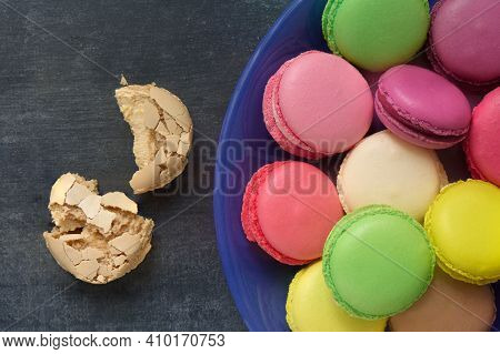 French Macaroons, Parisian Dessert, Sweet Food, Pastry, Close Up