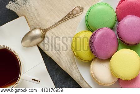 Parisian Fresh Macaroons, Sweet Food, Bakery And Branding Concept, Top View, Shallow Depth Of Sharpn