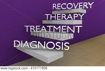 Recovery Healing Cure Steps Levels Diagnosis Treatment Therapy 3d Illustration
