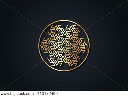 Antahkarana Gold Mandala Ancient Symbol Of Healing And Meditation, Used In Tibet And China. Sacred G