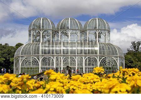 Curitiba, Paraná, Brazil - December 26, 2020: The Architecture Of The Curitiba Botanic Garden In Cur